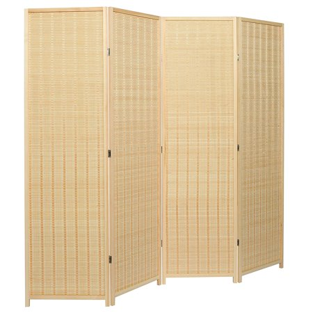 Decorative Freestanding Beige Woven Bamboo 4 Panel Hinged Privacy Screen Portable Folding Room Divider ()