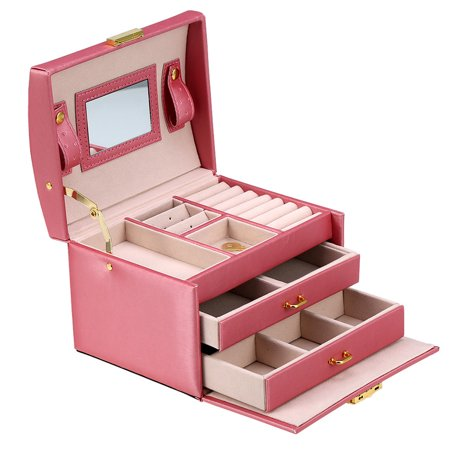 Walfront 3-Layer Girls Leather Jewelry Box And Jewelry Organizer Watch Storage Lockable Jewelry Organizer Mirrored Storage Case for Women, Pink