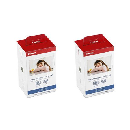 2 Canon KP-108IN Color and 4x6 Paper Set for SELPHY CP1200 Printer, (Canon Selphy Cp Color Ink Paper Set)