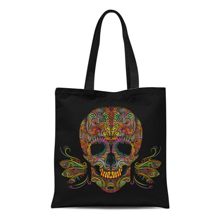 SIDONKU Canvas Tote Bag Sugar Color Skull on Black and White Day Dead Reusable Shoulder Grocery Shopping Bags Handbag