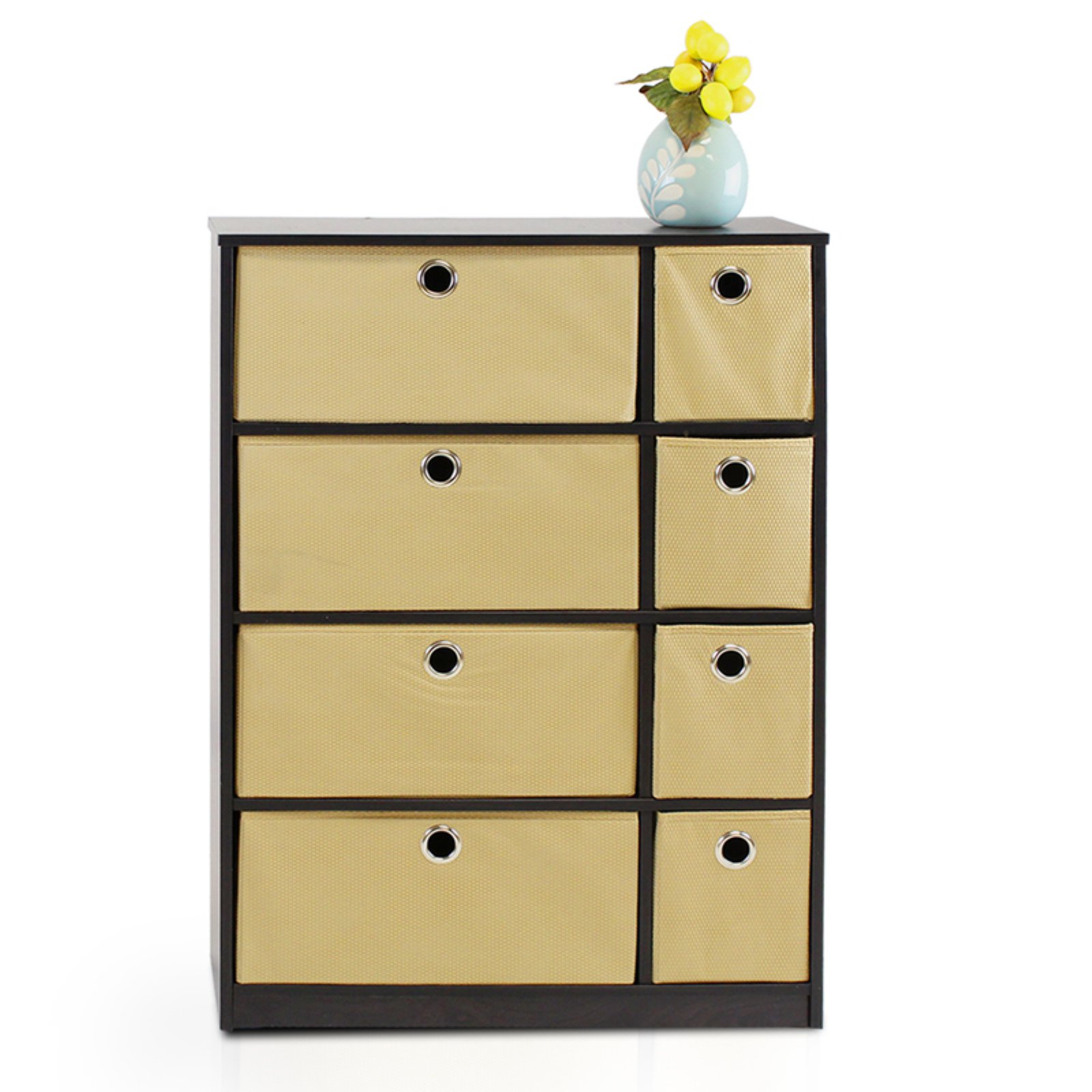 Furinno 13089EX/LB Econ Storage Organizer Cabinet with Bins, Espresso/Light Brown