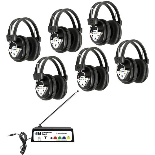 HHamiltonBuhl Wireless Listening Center, 6 Station with Headphones and Bluetooth® Transmitter, Multi Frequency
