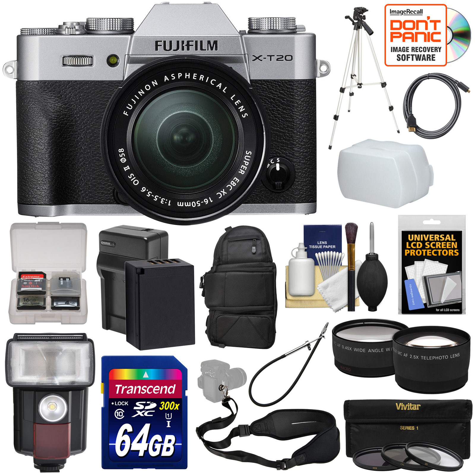 Fujifilm X-T20 Wi-Fi Digital Camera & 16-50mm XC Lens (Silver) with 64GB