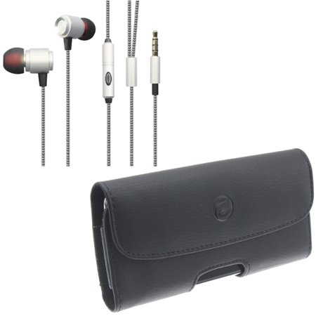 0fe3fa23a5e Compatible With Google Pixel 3a XL - Black Leather Carry Case w Hi-Fi Sound  Earbuds Hands-free Earphones w Mic - Walmart.com