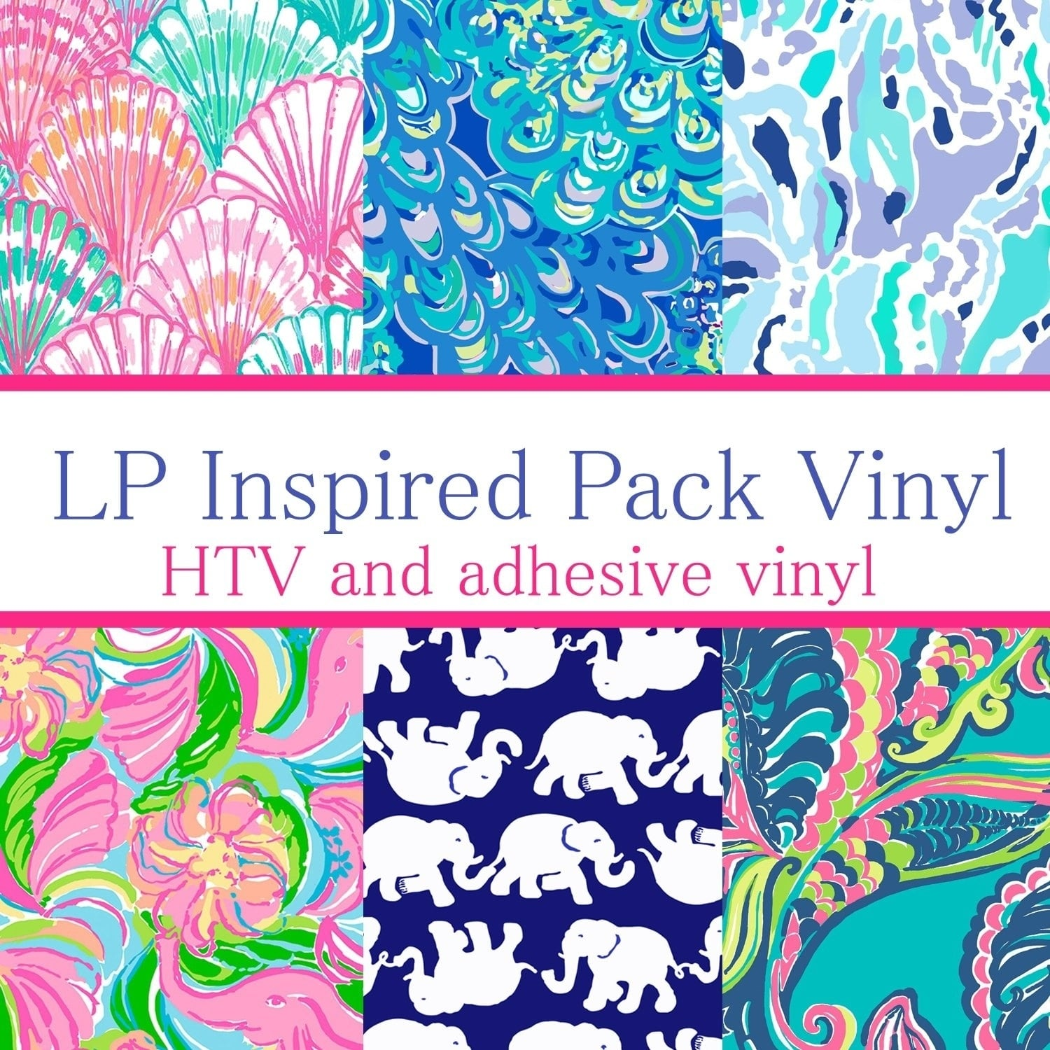 Vinyl Boutique Shop Craft vinyl Lilly Inspired vinyl Collection 4, PACK OF 6 sheets of VINYL