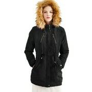 Luxury Women Vintage Warm Casual Fleece Fur Warm Zip Up Peacoat Outwear Hood Parka Ladies Long Trench Jacket Outwear Thick Faux Fur Big Hooded Parka Long Overcat