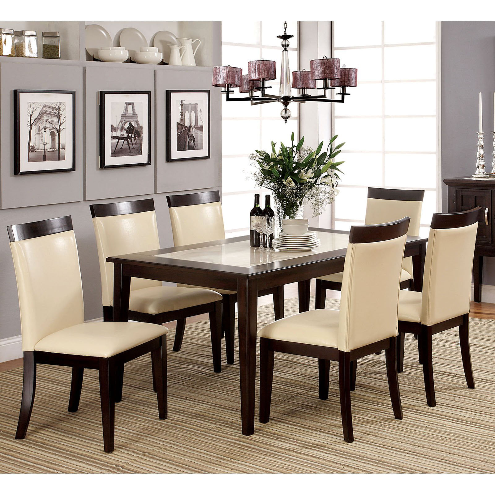 Dining Table Set steve silver 7 piece marseille marble top dining table set - dark