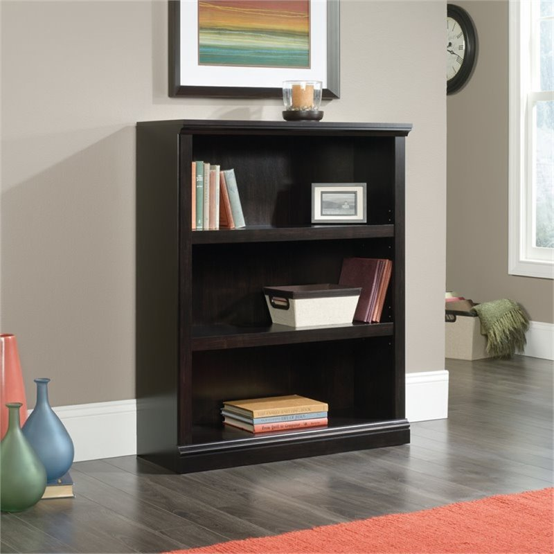 Pemberly Row 3 Shelf Bookcase in Estate Black