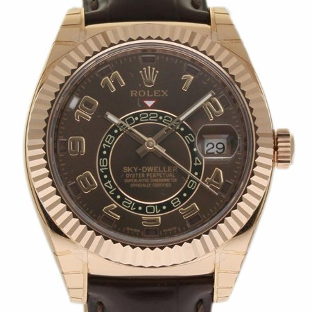 Pre-Owned Rolex Sky-dweller 326135 Gold  Watch (Certified Authentic & (Rolex Sky Dweller Rose Gold Leather Chocolate Dial)