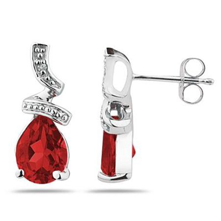 Pear Shaped  Garnet  and Diamond Earrings in 10k White -