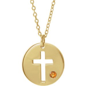 Jewels By Lux 14K Yellow Gold Citrine Pierced Cross Disc Necklace
