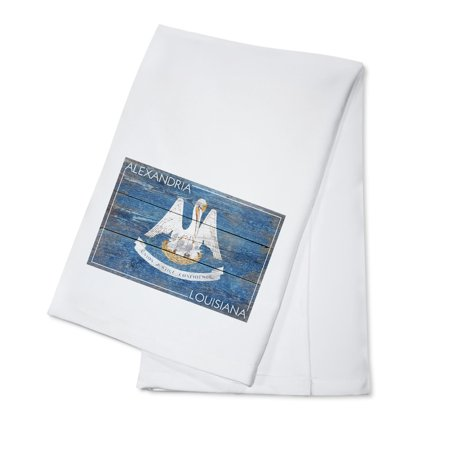 Alexandria, Louisiana - Rustic State Flag - Lantern Press Artwork (100% Cotton Kitchen Towel) (Alexandria Louisiana Halloween)