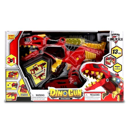 Interchangeable Toys Mozlly Dino Gun Space Battle 3 in 1 Tyrannosaurus (13pc Set) - Guns In Space