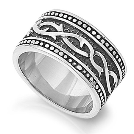 Men's Heavy Thorn Ring Polished Stainless Steel Band New USA 14mm Size