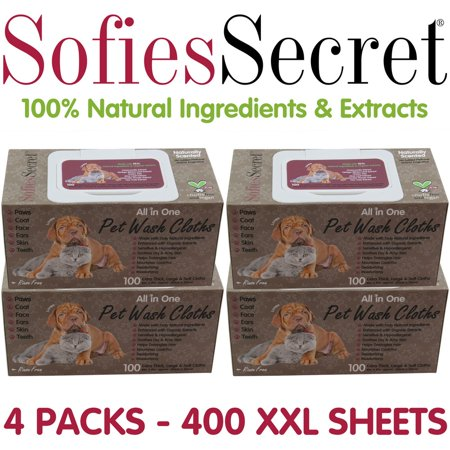 SofiesSecret-Pet-Wipes-Dogs-Cats-ALL-IN-ONE-400-Count-100-Natural-Organic-Extracts-Extra-Thick-Ultra-Soft-Extra-Large-Hypoallergenic-Cr