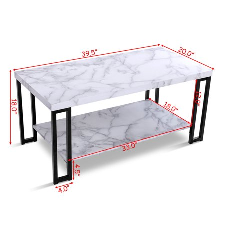 Gymax Coffee Table Faux Mable Top Metal Frame Accent Cocktail Table w/ Storage Shelf - image 5 of 10