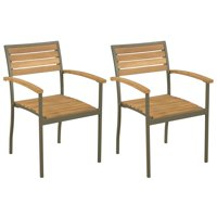 WALFRONT Stackable Outdoor Chairs 2 pcs Solid Acacia Wood and Steel