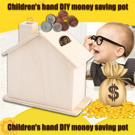 New Children Baby Handmade Diy Baipi Wooden Coin House Piggy Bank