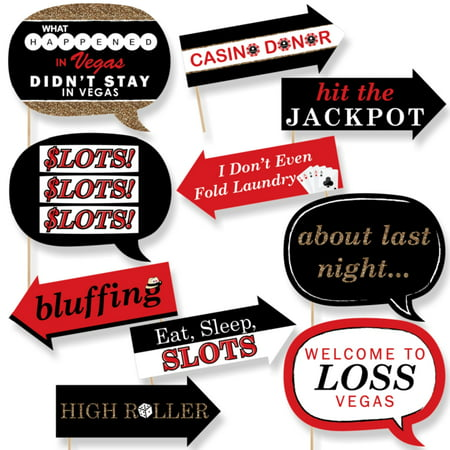 Funny Las Vegas - Casino Themed Photo Booth Props Kit - 10 Piece - Casino Party Theme