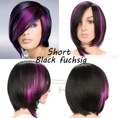 〖Follure〗Fashion Wig Short Haircut Curly Color Gradient Short Human Hair Synthetic
