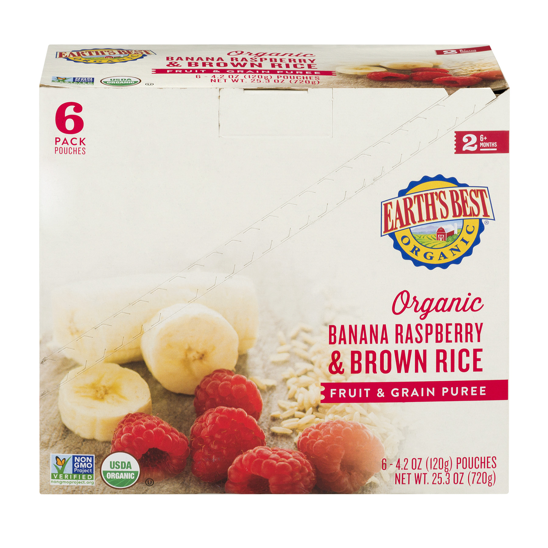 Earth's Best Organic Banana Raspberry & Brown Rice Fruit & Grain Puree 6+ Months - 6 PK, 4.2 OZ