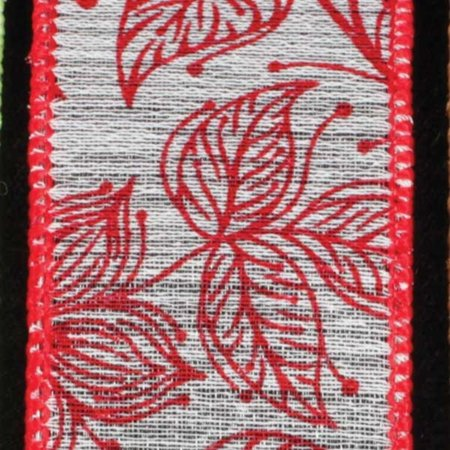 Vintage Garden Red Floral Wired Craft Ribbon 1.5