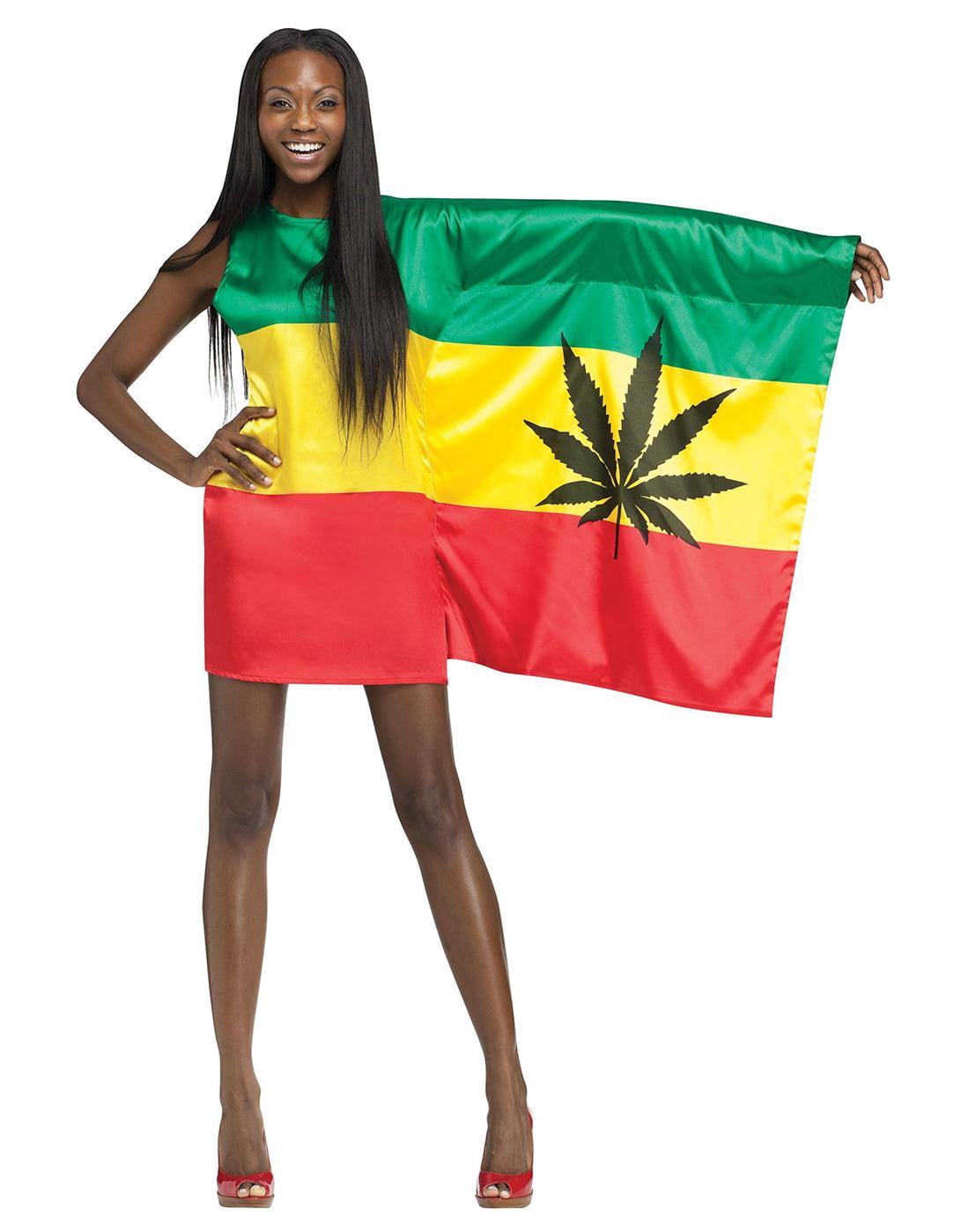 fa69414ed8d54 Rasta Girl 420 Weed Flag Womens Sexy Bob Marley Holiday Party Costume S-L -  Walmart.com Sc 1 St Walmart