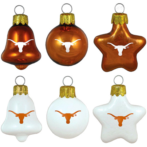 Topperscot NCAA Texas Longhorns Ornament Set, Set of 6