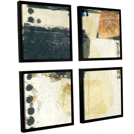 Artwall Elena Ray   Wabi Sabi Bodhi Leaf Collage 2   4 Piece Floater Framed Canvas Square Set