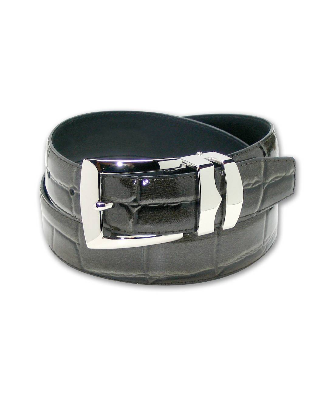 Mens Belt Reversible Wide Bonded Leather Silver-Tone Buckle LIME GREEN//Black