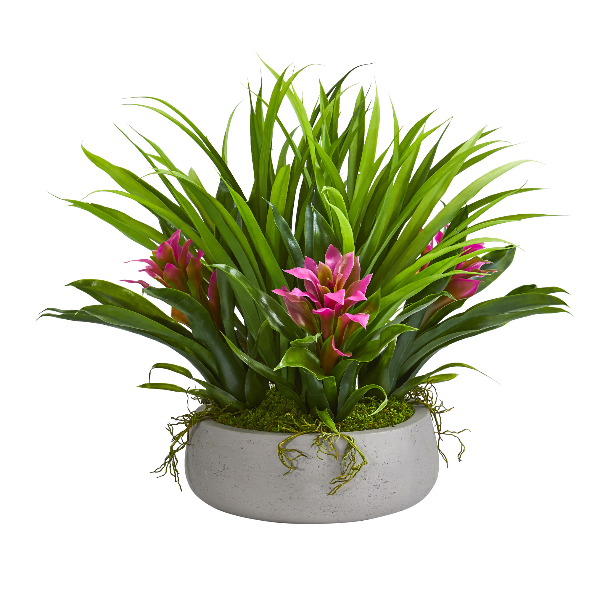 """Nearly Natural 16"""" Bromeliad & Grass Artificial Plant in Ceramic Vase"""