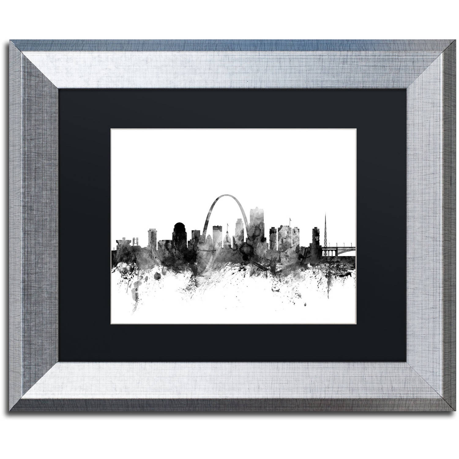 Trademark Fine Art 'St Louis Missouri Skyline B&W' Canvas Art by Michael Tompsett Black Matte, Silver Frame