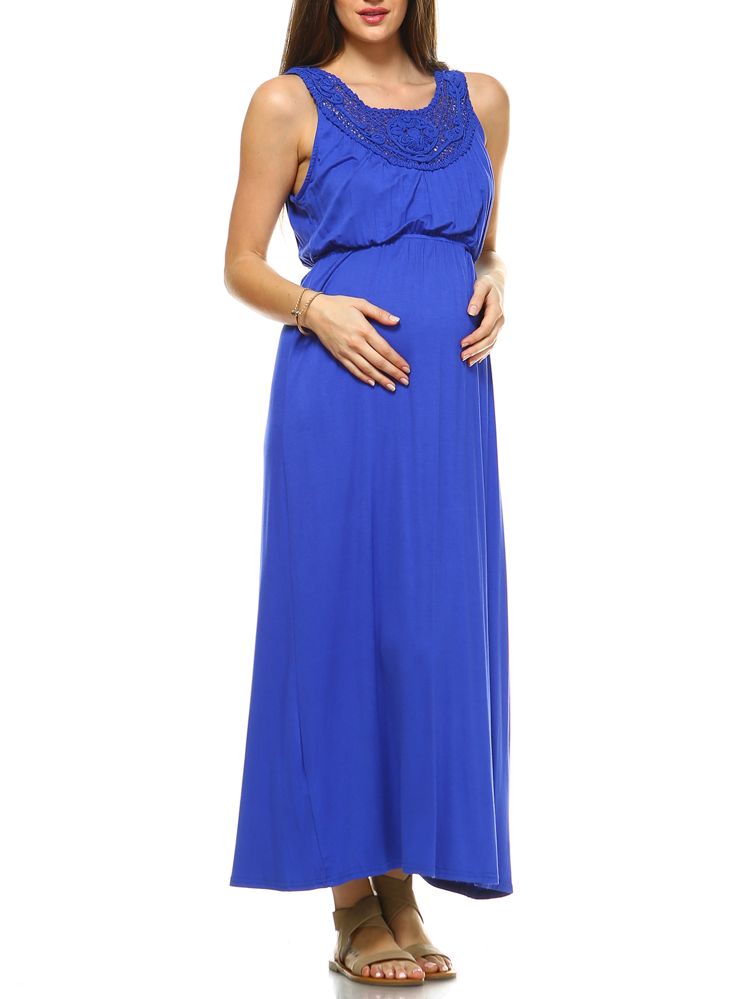 Women's Maternity Crochet Maxi Dress