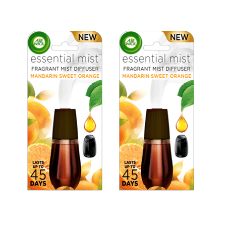 (2 pack) Air Wick Essential Mist Fragrance Oil Diffuser Refill, Mandarin & Sweet Orange, 2 Total, Air Freshener