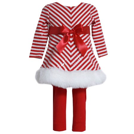 Bonnie Jean Girls' Stripe Santa Christmas Holiday Dress Legging Set  4T