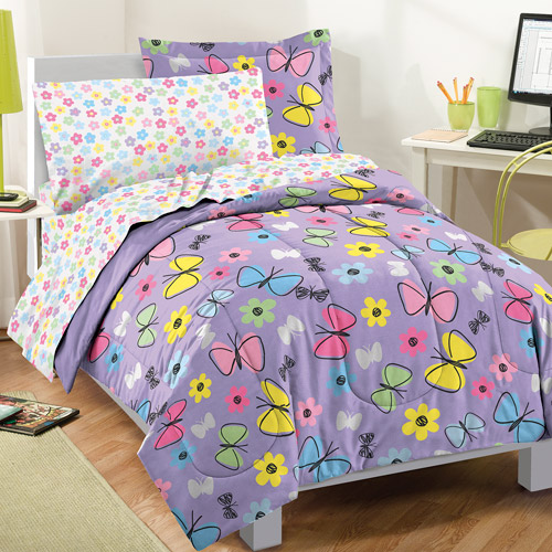 Dream Factory Sweet Butterfly Bed In A Bag, Purple