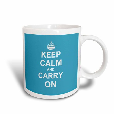 3dRose Keep Calm and Carry On - white text on light blue - crown - motivational fun funny humor humorous, Ceramic Mug, 11-ounce