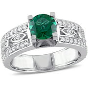 1-1/2 Carat T.G.W. Created Emerald and Created White Sapphire Sterling Silver Engagement Ring
