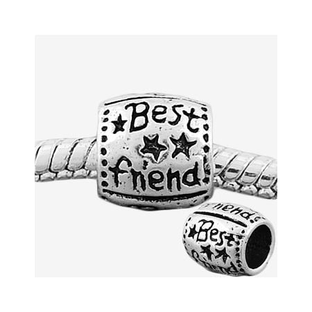 Round Best Friend Charm Bead. Compatible With Most Pandora Style Charm (Pandora Best Friend Butterfly Charm)