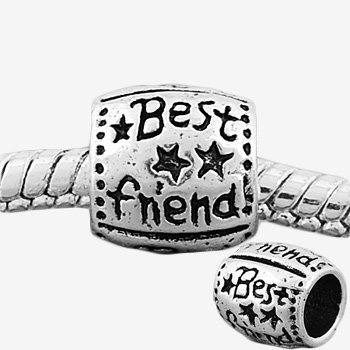 Round Best Friend Charm Bead. Compatible With Most Pandora Style Charm Bracelets.