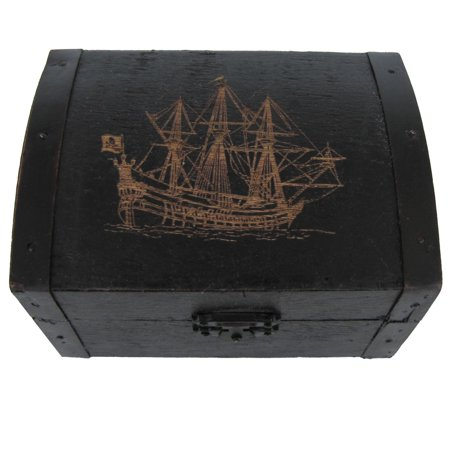- Antique Wooden Pirate Ship Jolly Roger Skull&Crossbones Flag Treasure Chest Box