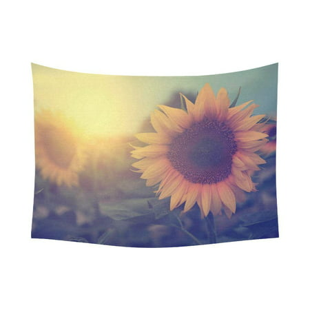 GCKG Beautiful Sunset Retro Yellow Sunflower Tapestry Wall Hanging Vintage Flower Landscape Wall Decor Art for Living Room Bedroom Dorm Cotton Linen Decoration 80 x 60 Inches](60 Decorations)