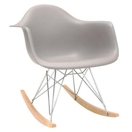 Peachy Mid Century Modern Eiffel Style Bucket Dining Chair With Rocker Base Medium Grey Machost Co Dining Chair Design Ideas Machostcouk