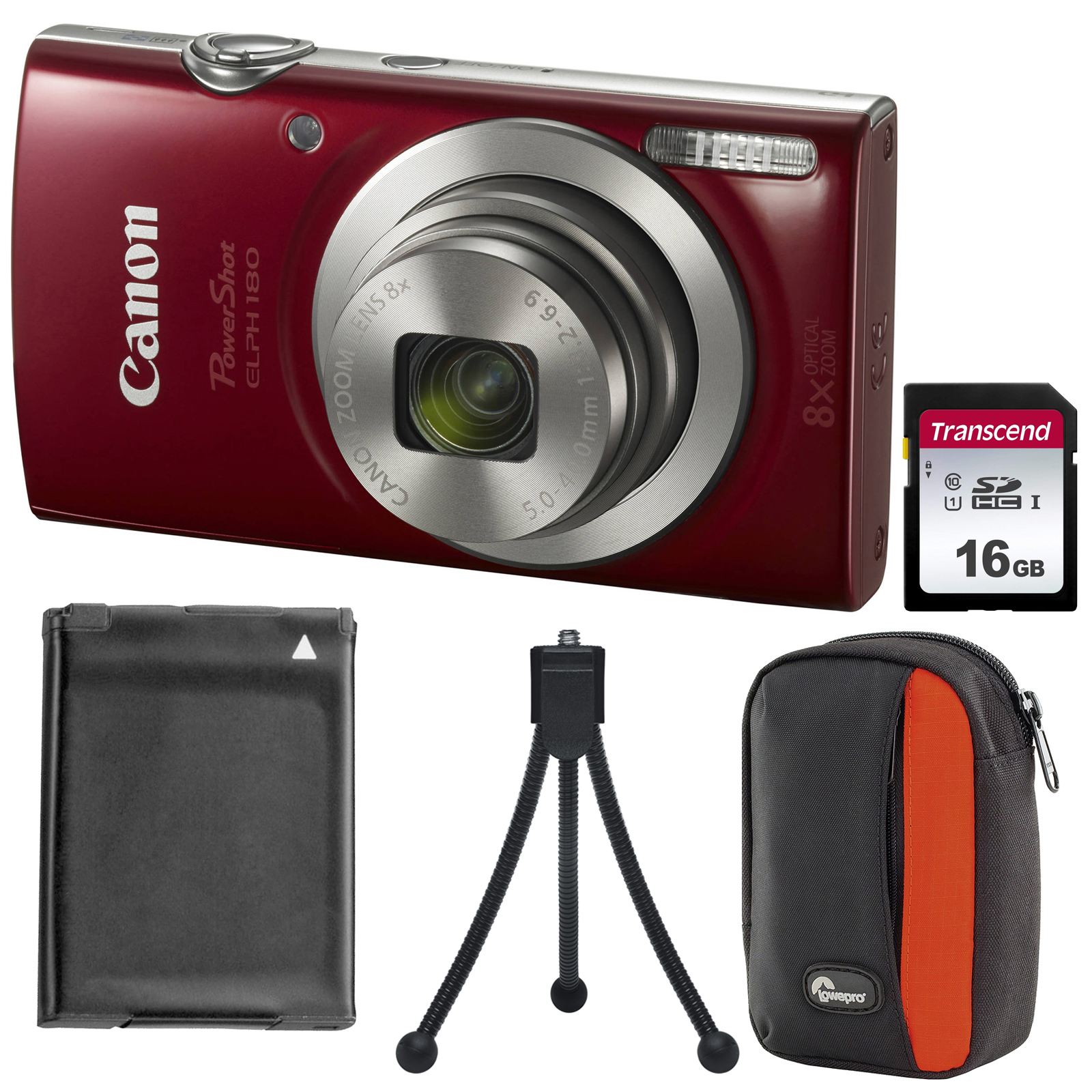 Canon PowerShot Elph 180 Digital Camera (Red) with 16GB Card + Battery + Case + Tripod + Kit