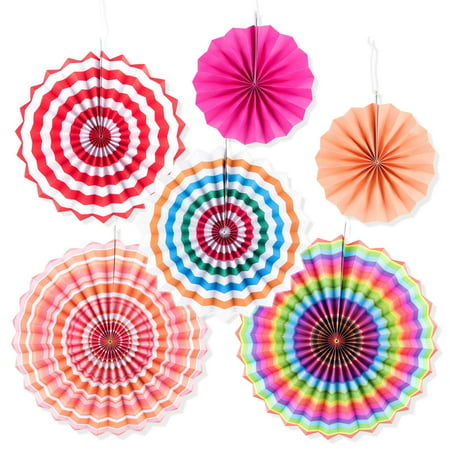 Colorful Round Hanging Paper Fans Garland Folding Design for Summer Porch Tree Home Decoration, Birthday Party Supplies, Weddings (6 Pack) (Home Party Decorations)