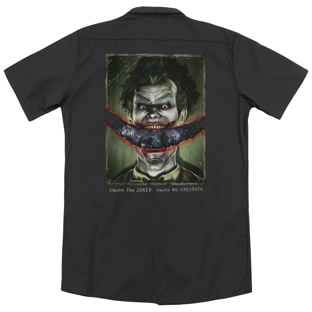 Batman Arkham Asylum Split Lip (Back Print) Mens Work Shirt