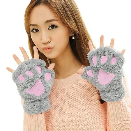 Gloves Womens, Coxeer Lovely Cat Claw Bear Paw Winter Plush Gloves Mitt for Girls (Grey)