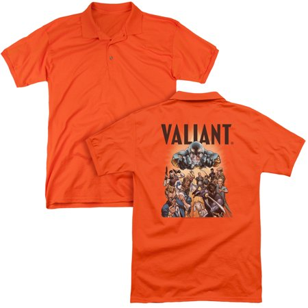 Valiant Entertainment Comic Book Series Hero Group Shot Adult Back Print Polo T