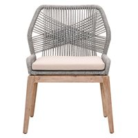 Benzara Weave Wooden Dining Chair With Removable Cushion, Gray And Brown, Set Of Two