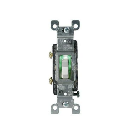 Leviton 01461-GLW Heavy Duty Illuminated Toggle Switch, 1 Pole, 15 Amp